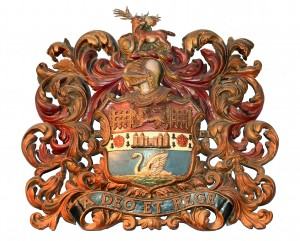 Richmond Town Crest granted in 1891 showing the royal connection with portcullis and palace alongside the deer for the parks and swan for the river